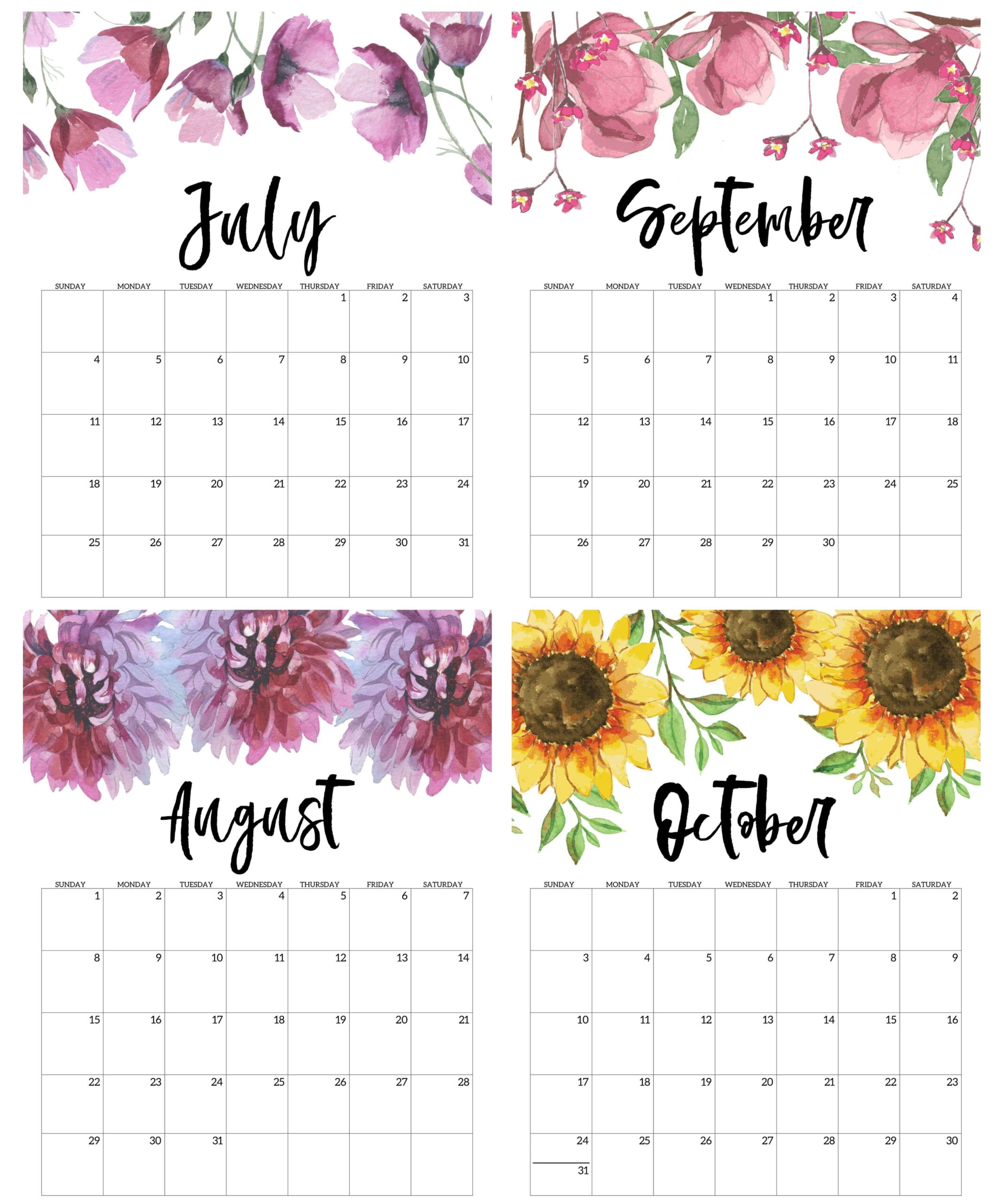 floral july to october calendar cute