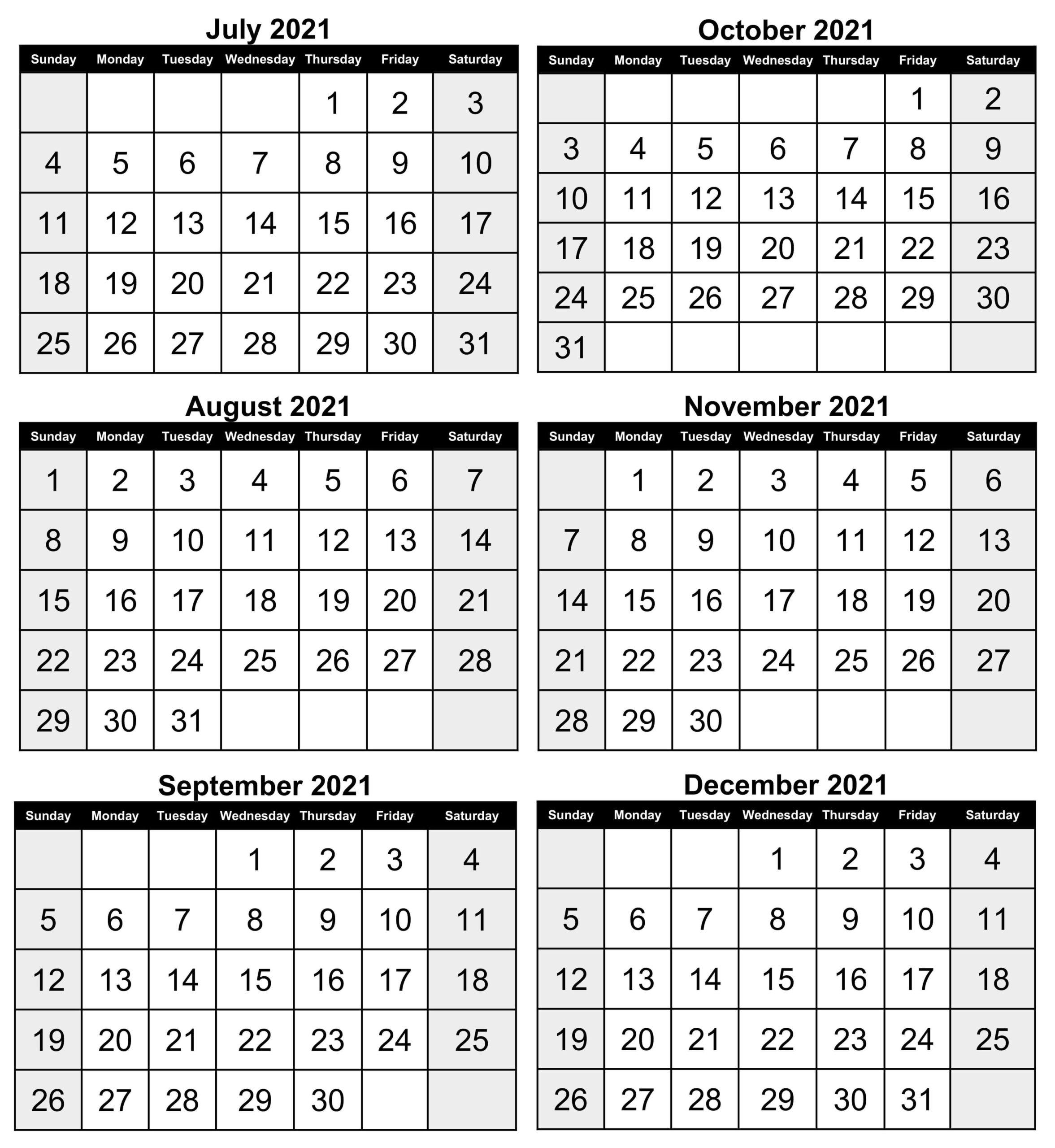 july to december calendar template