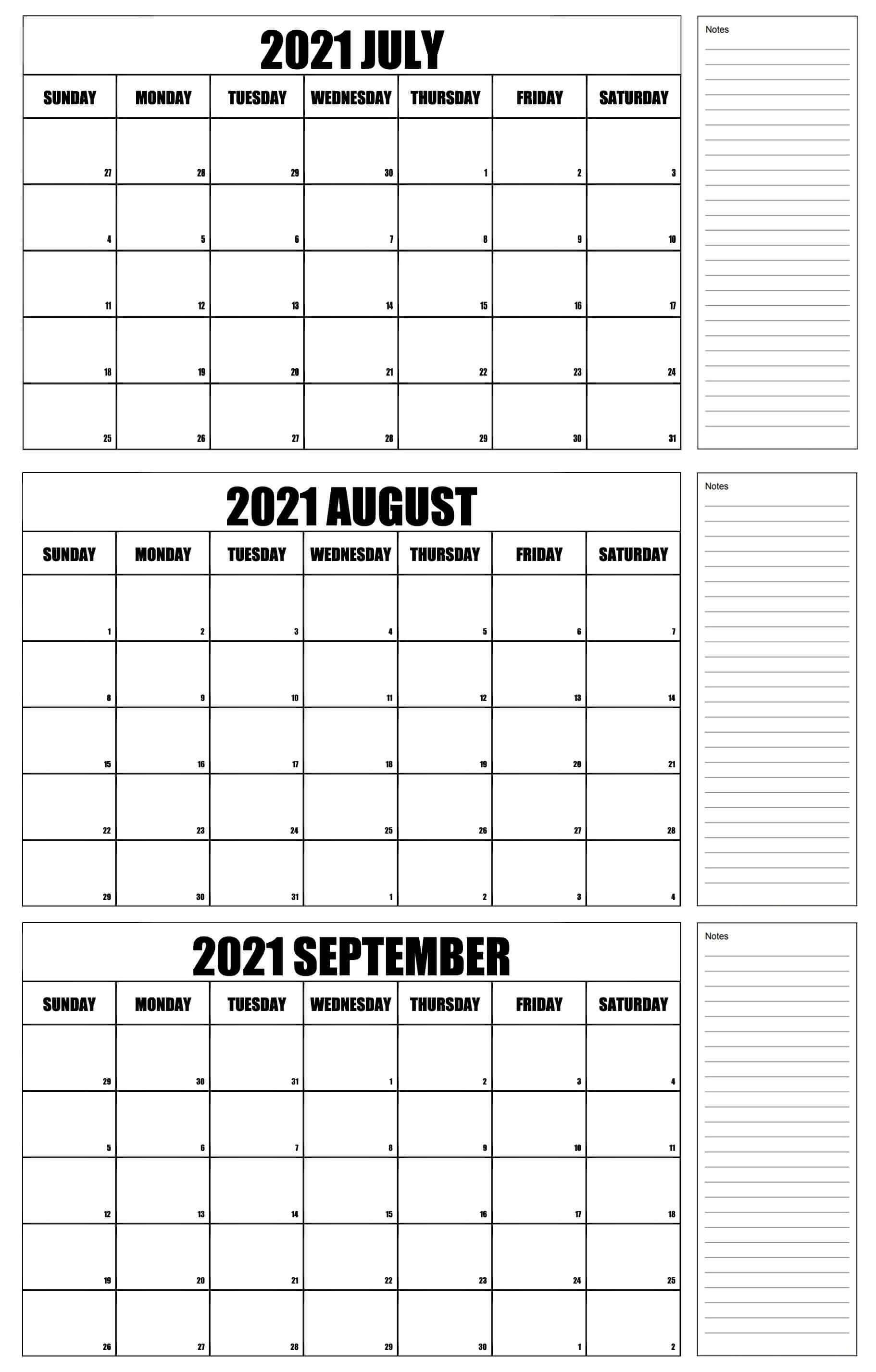 july to september 2021 printable Calendar pdf