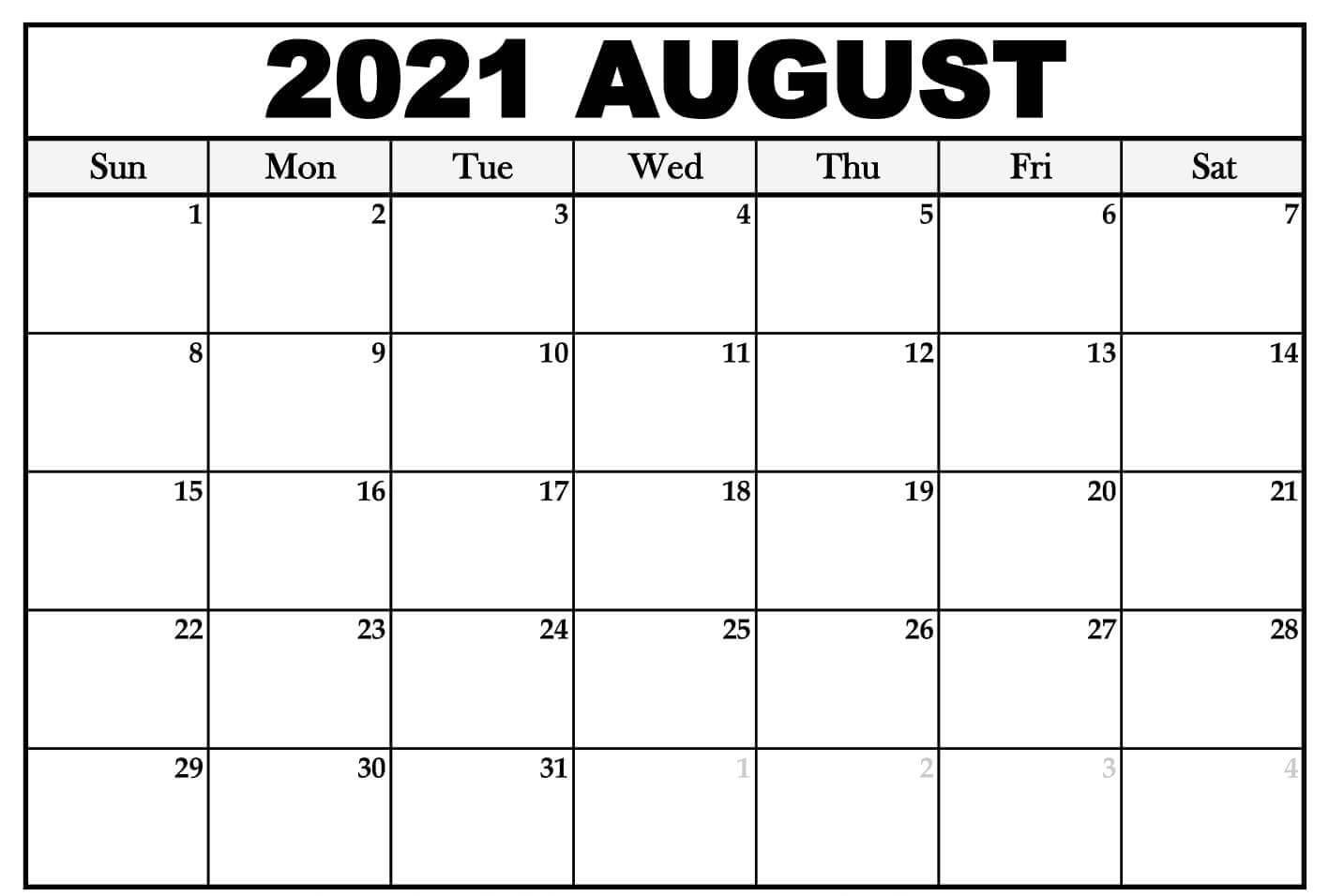 2021 August Blank Calendar Pdf