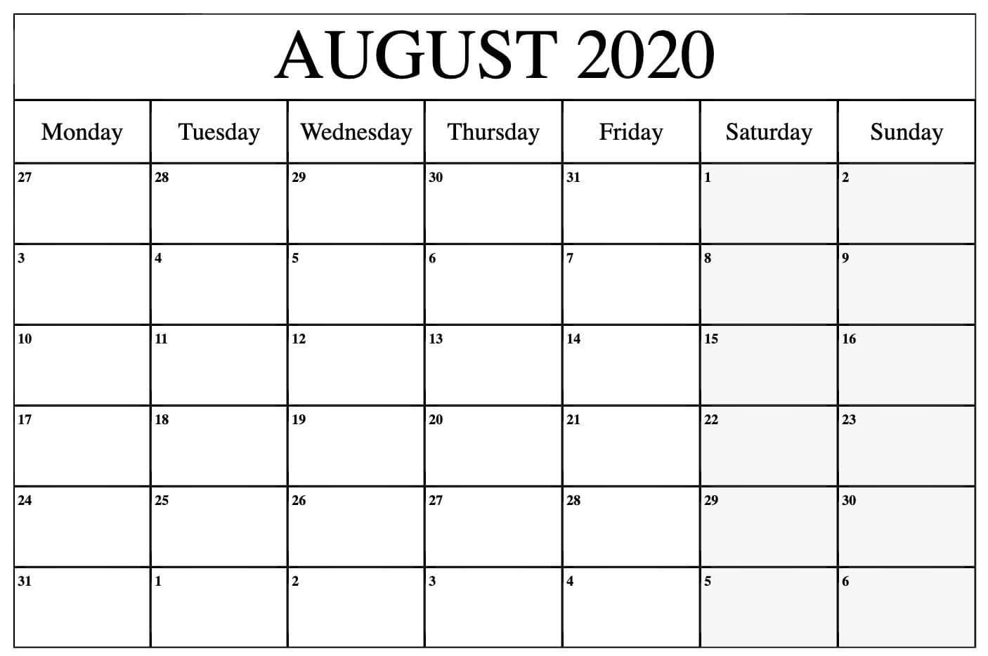 August 2020 Calendar Holidays Printable