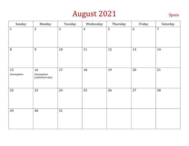 August 2021 Holidays Calendar Printable