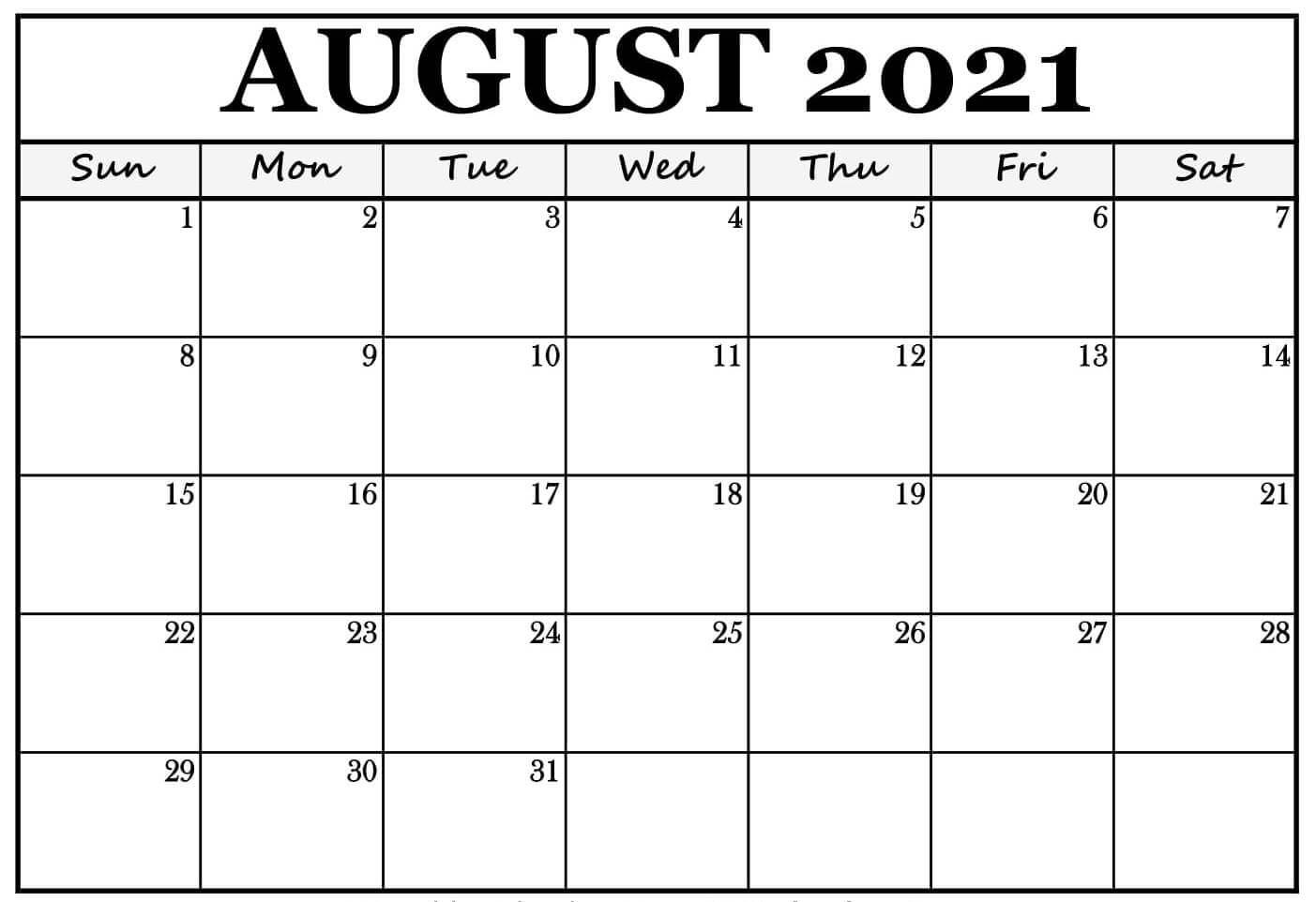 August Calendar 2021 Blank Template