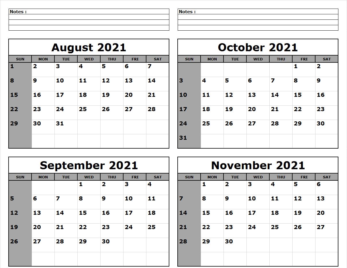 August September October November 2021 Calendar Printable