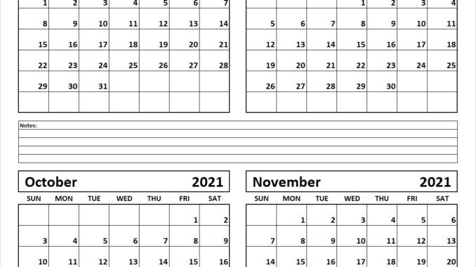 August to November 2021 Calendar