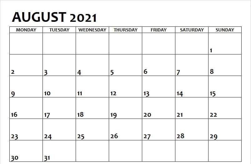 Blank August 2021 Calendar Excel