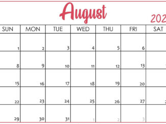 Blank Calendar Pages August 2021