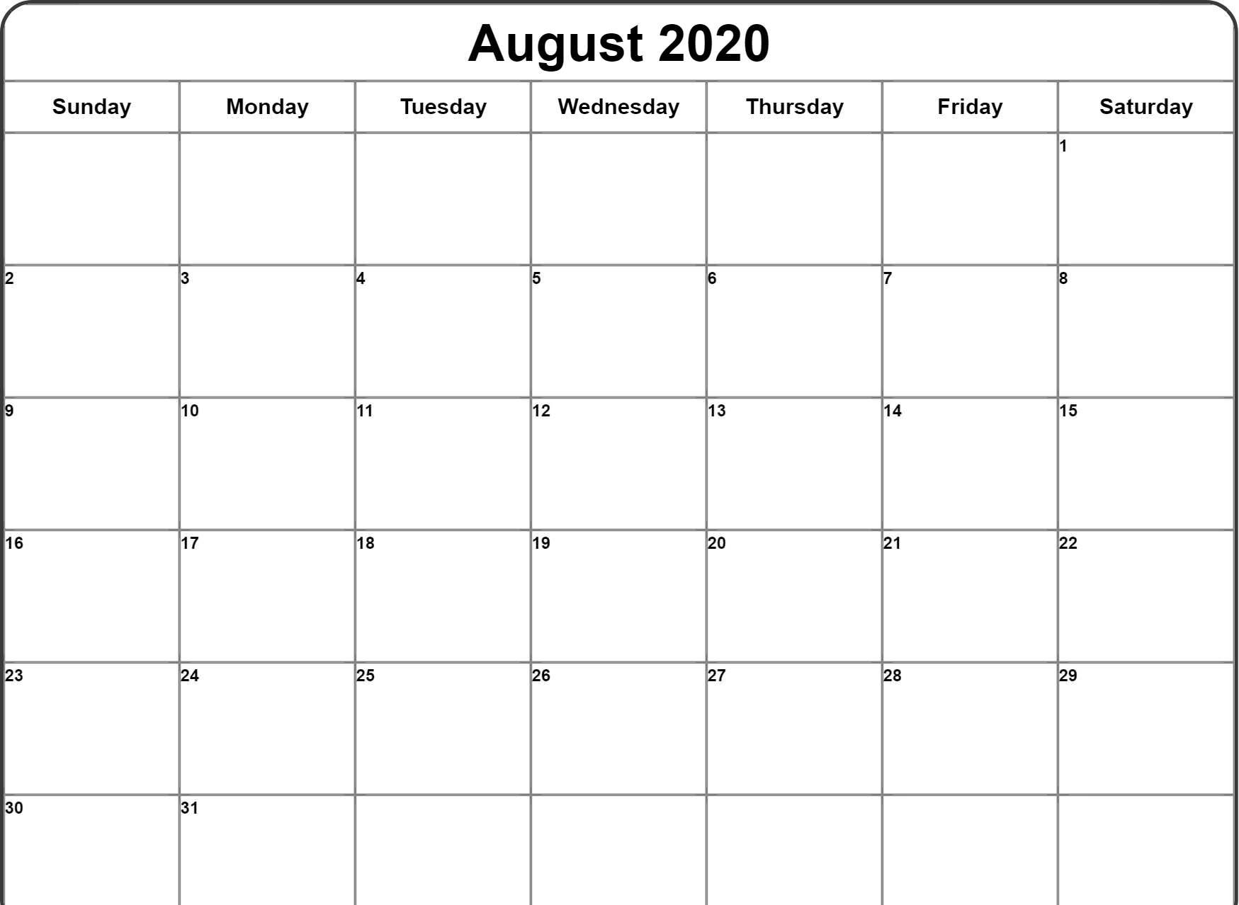 Blank Template Calendar for August 2020 Holidays