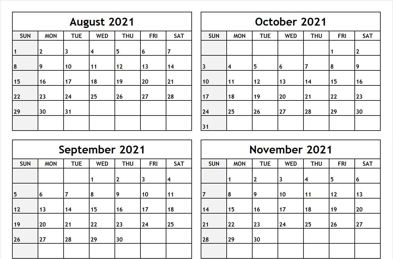 Calendar August to November 2021 Printable