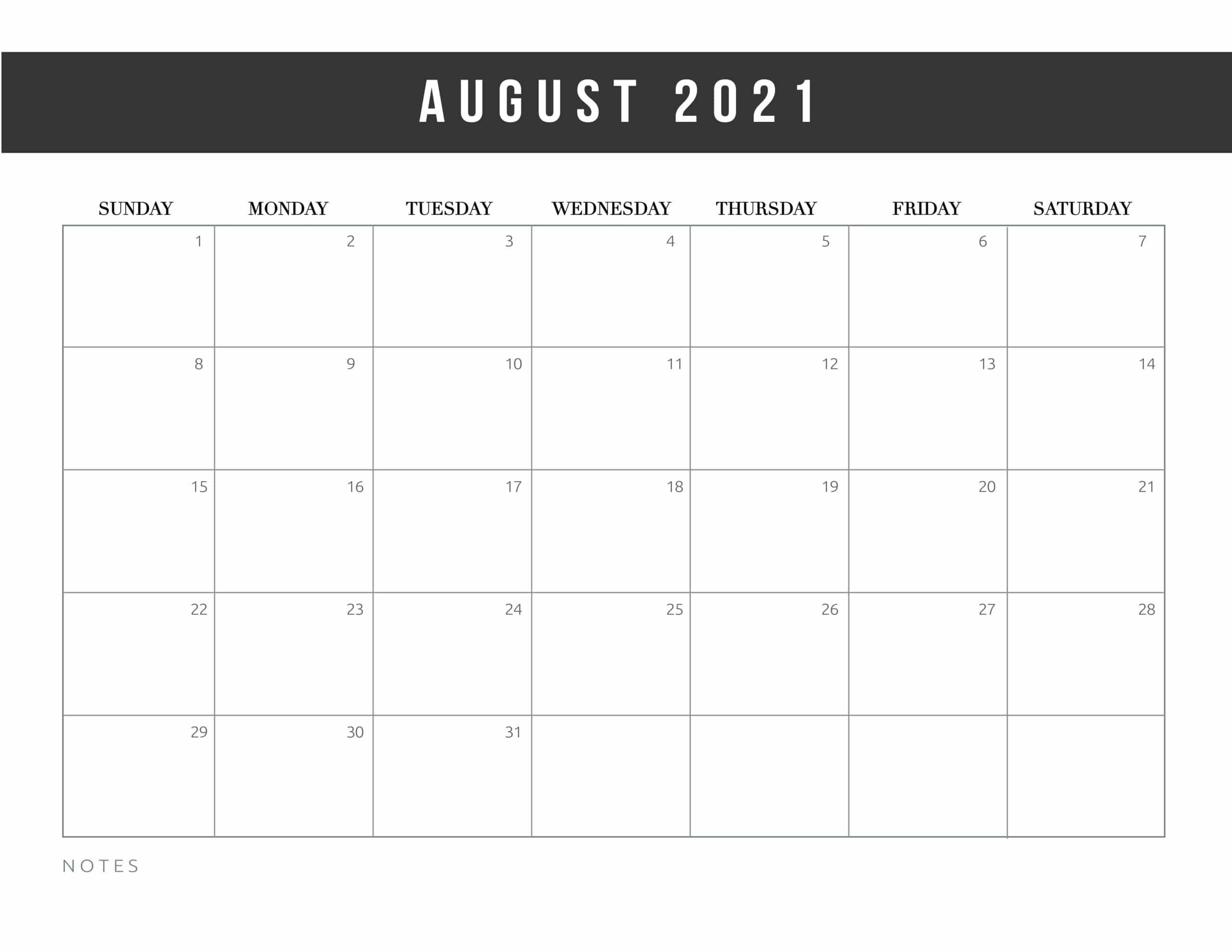Editable August Calendar 2021 Word