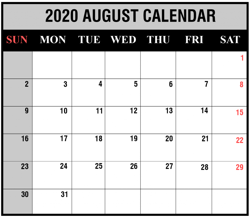 Fillable Calendar for August 2020 PDF