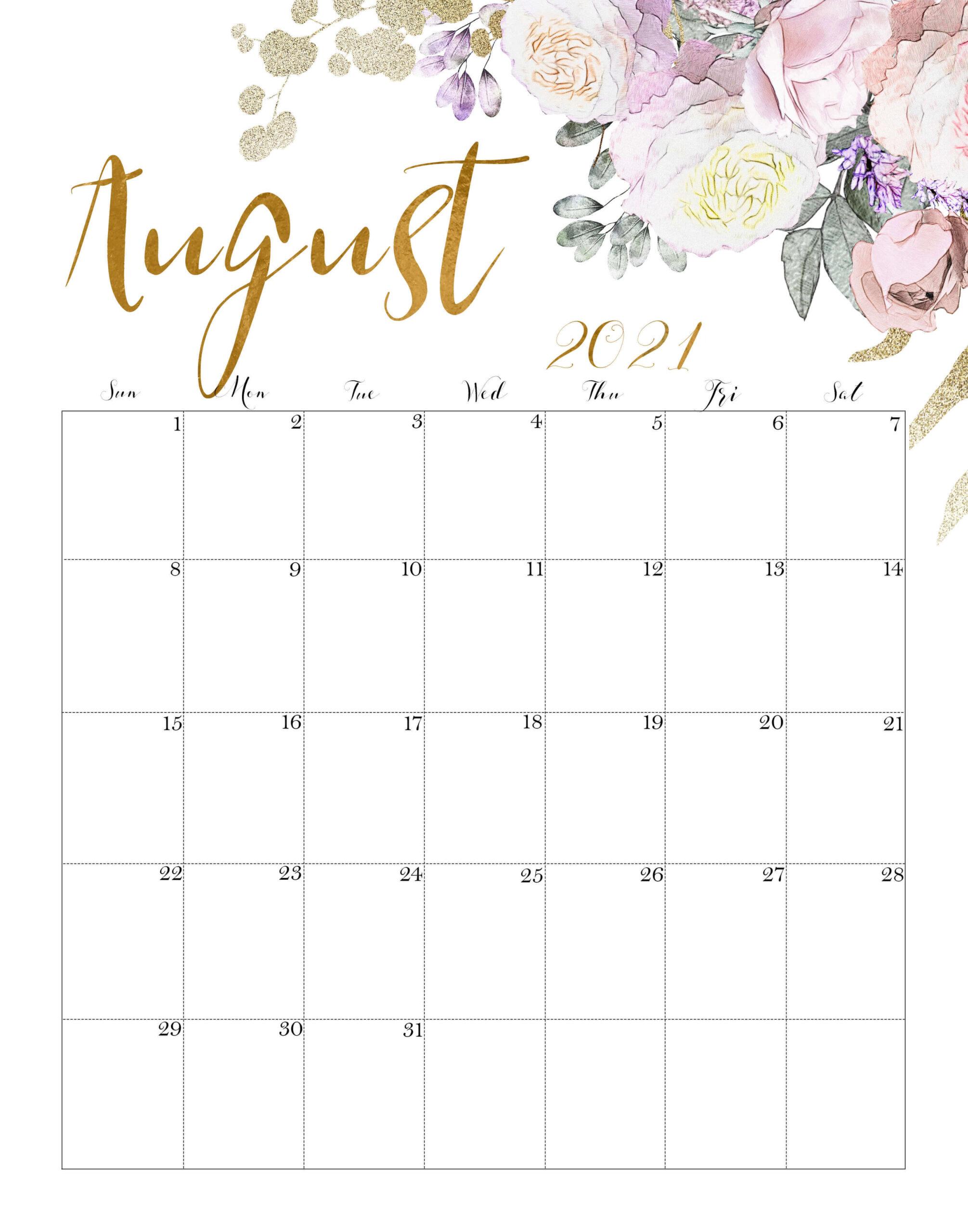 Floral August 2021 Wall Calendar