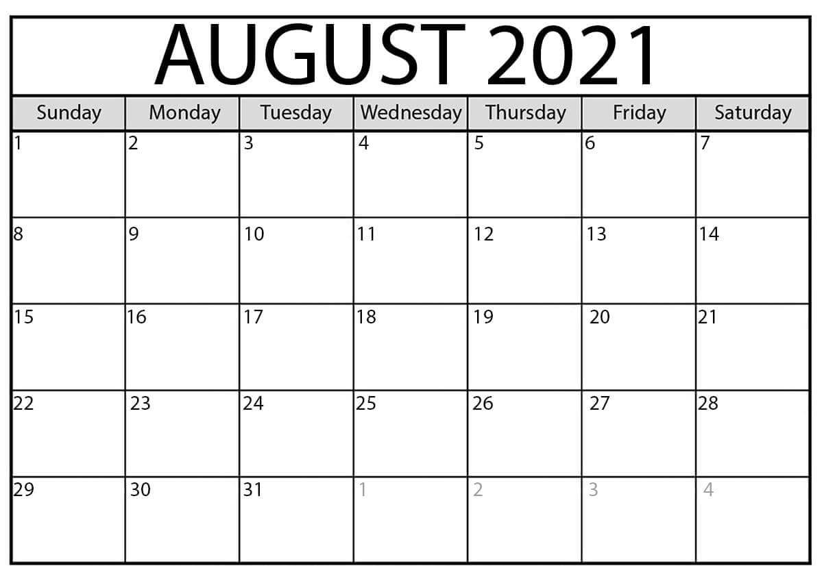 Free Printable August Calendar 2021