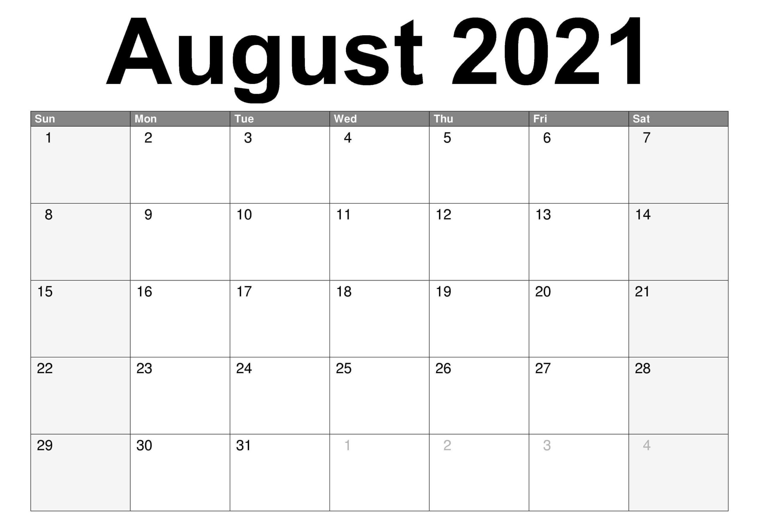 Monthly August 2021 Calendar PDF