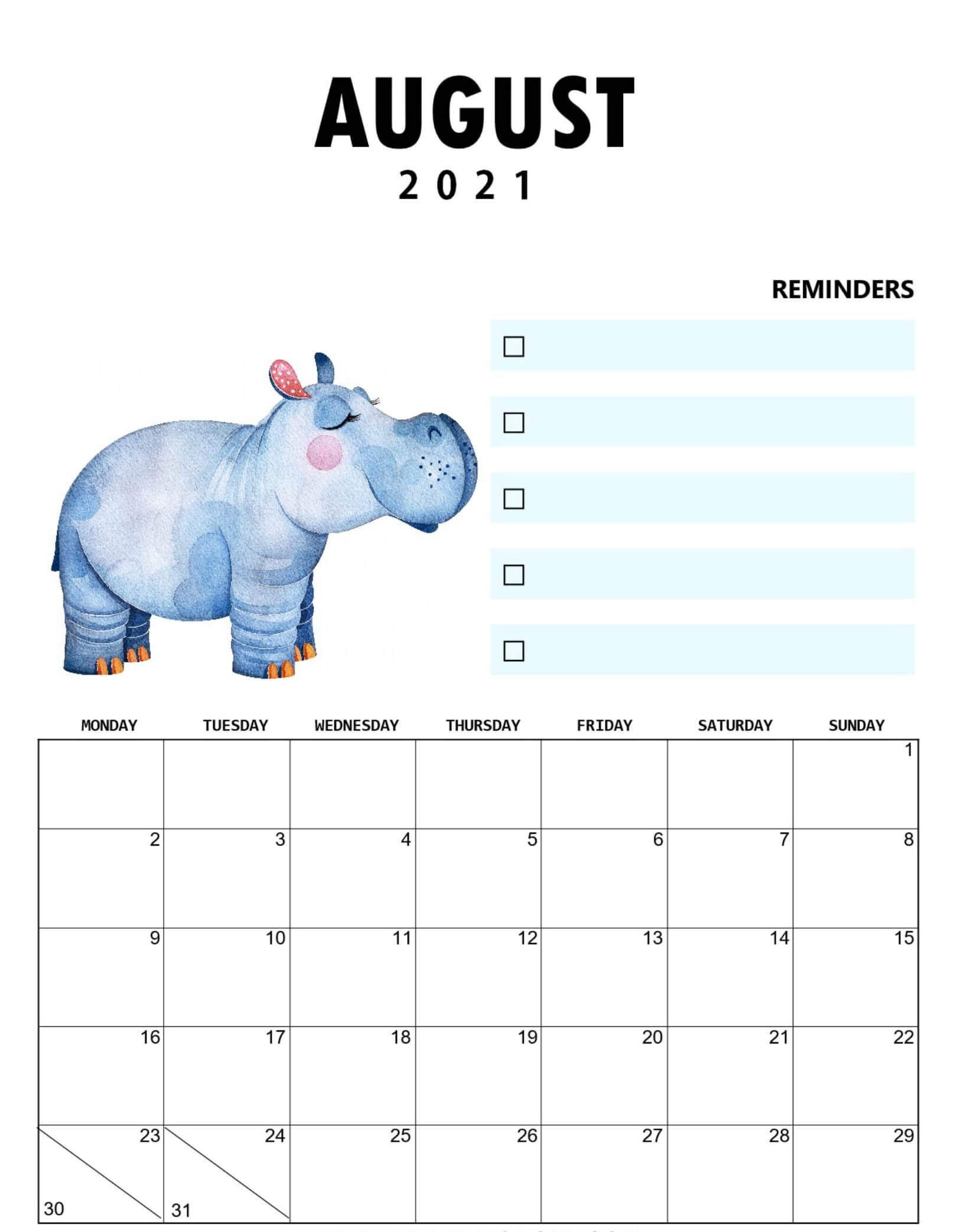 Print August 2021 Calendar Page A4