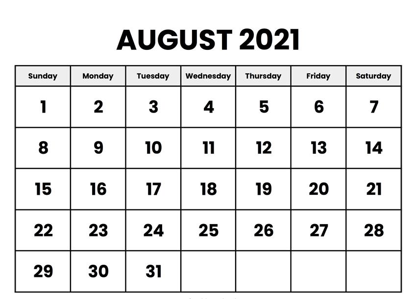 Print August 2021 Calendar