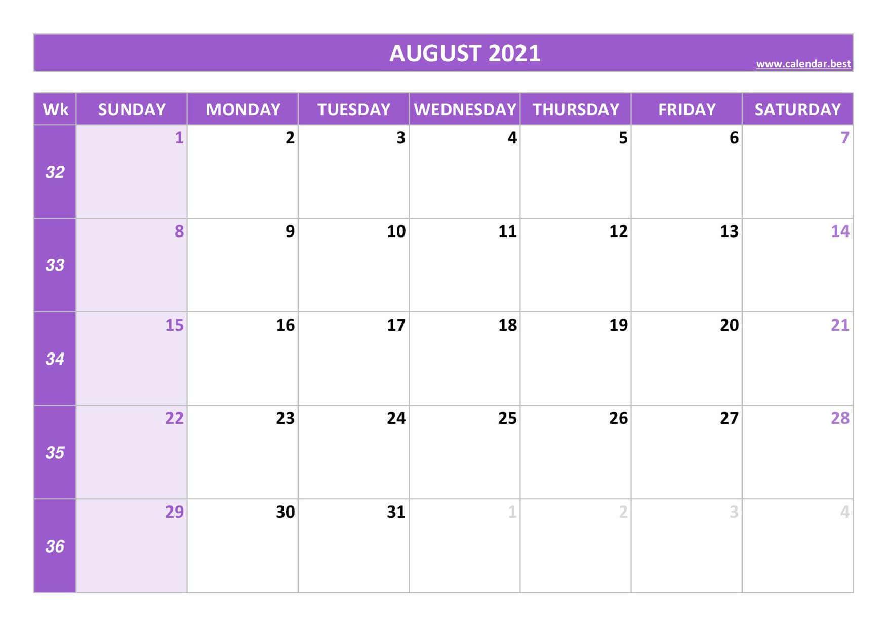 blank calendar august 2021 excel
