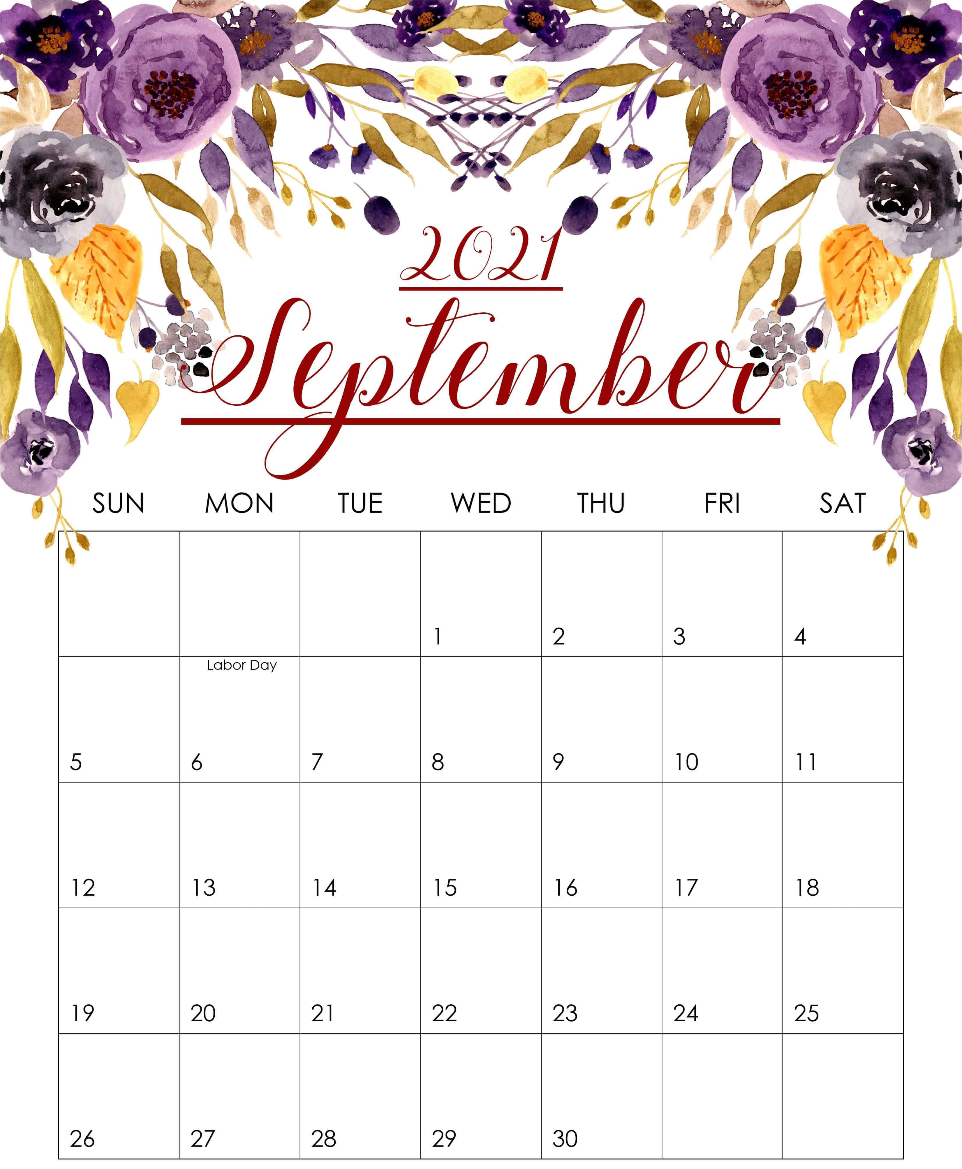 2021 September Floral Wall Calendar