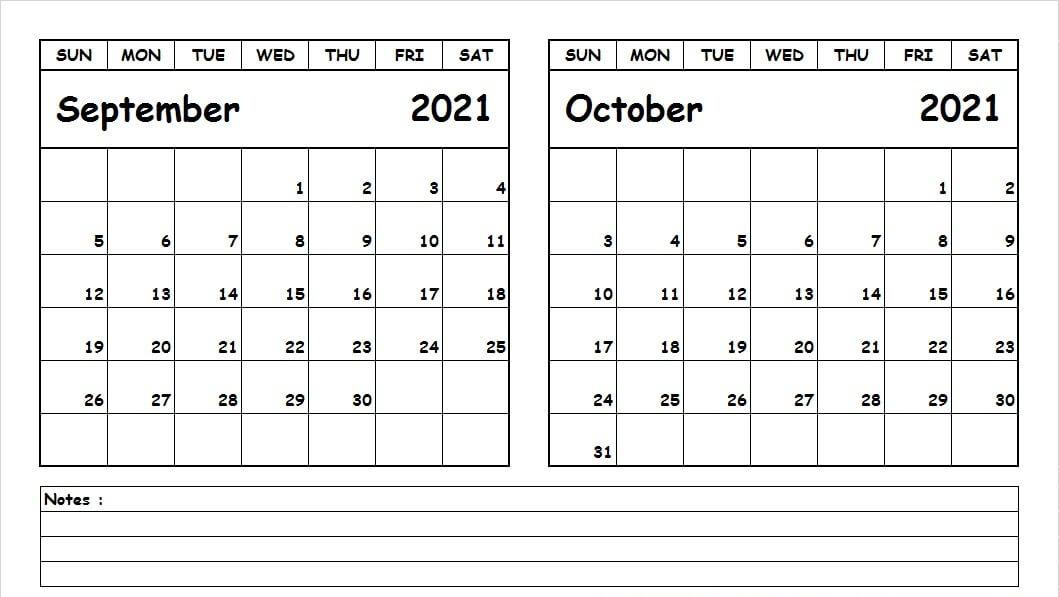 Blank Calendar September October 2021