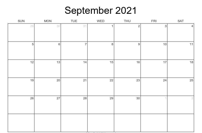 Blank Calendar for September 2021