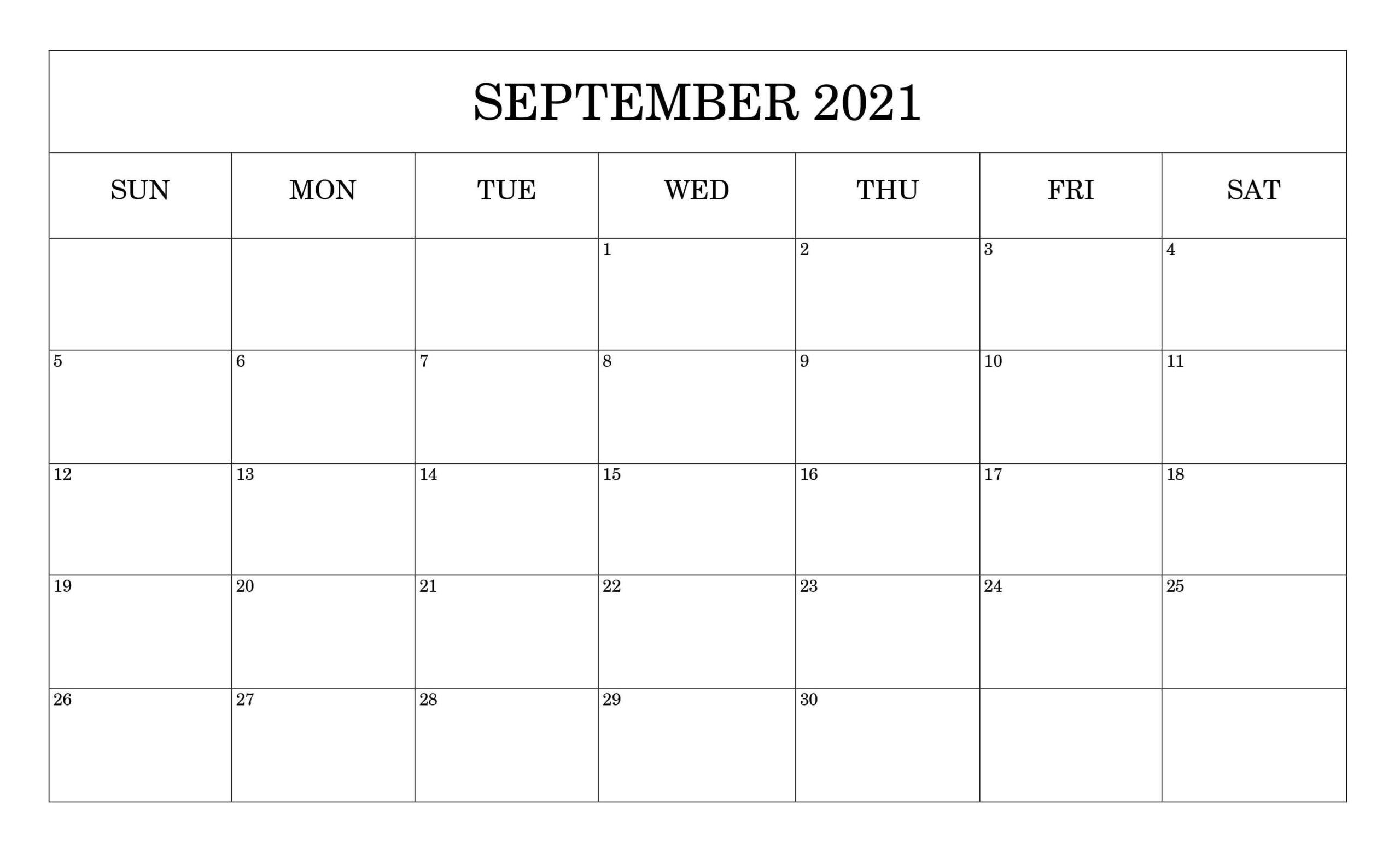 Blank September Calendar 2021 Printable