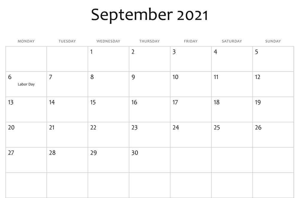 blank september calendar 2021 template