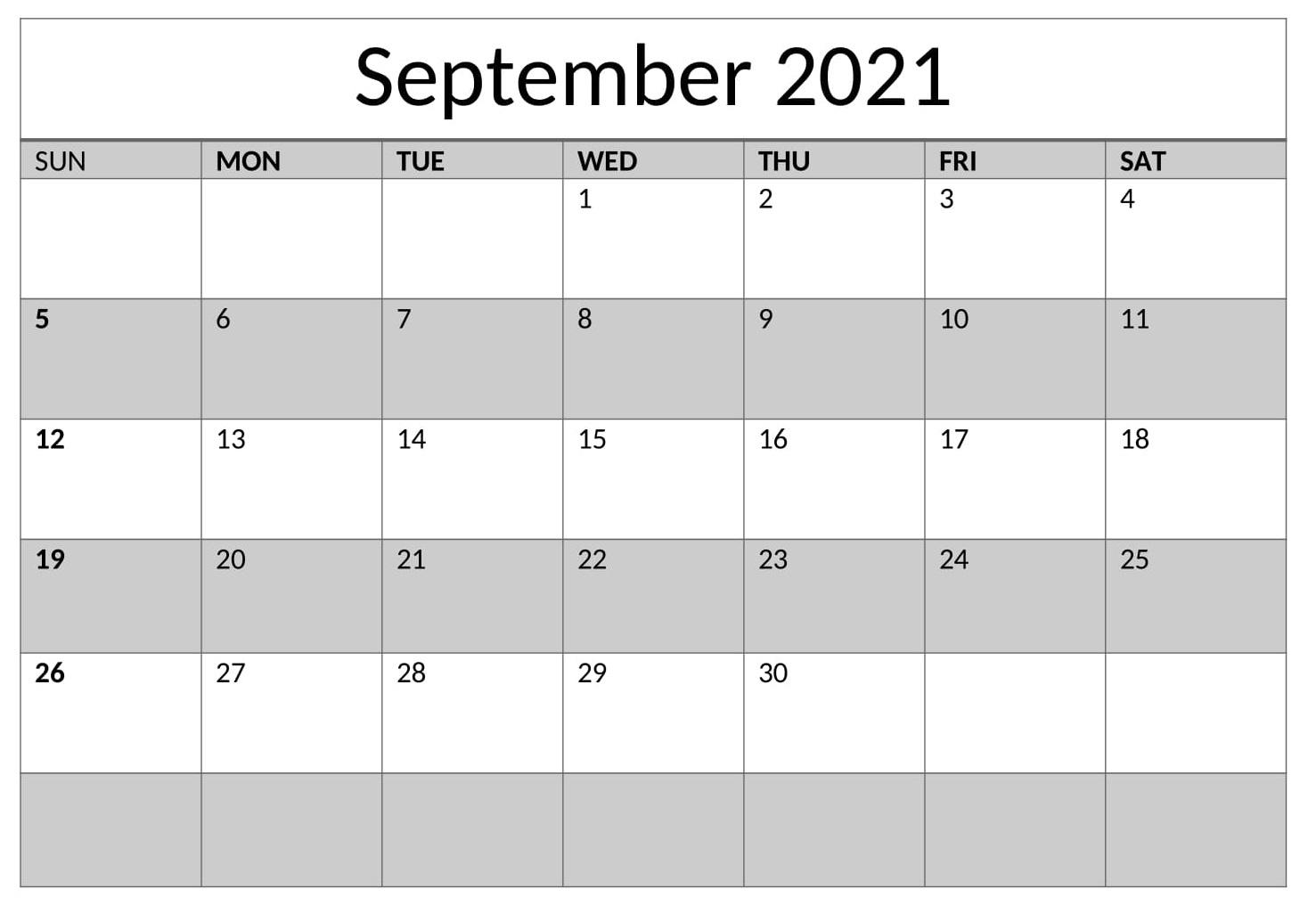 Calendar For September 2021 Word