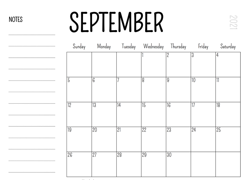 Calendar for September 2021 With Notes