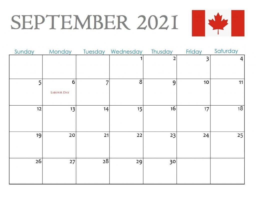 Canada September 2021 Holidays Calendar
