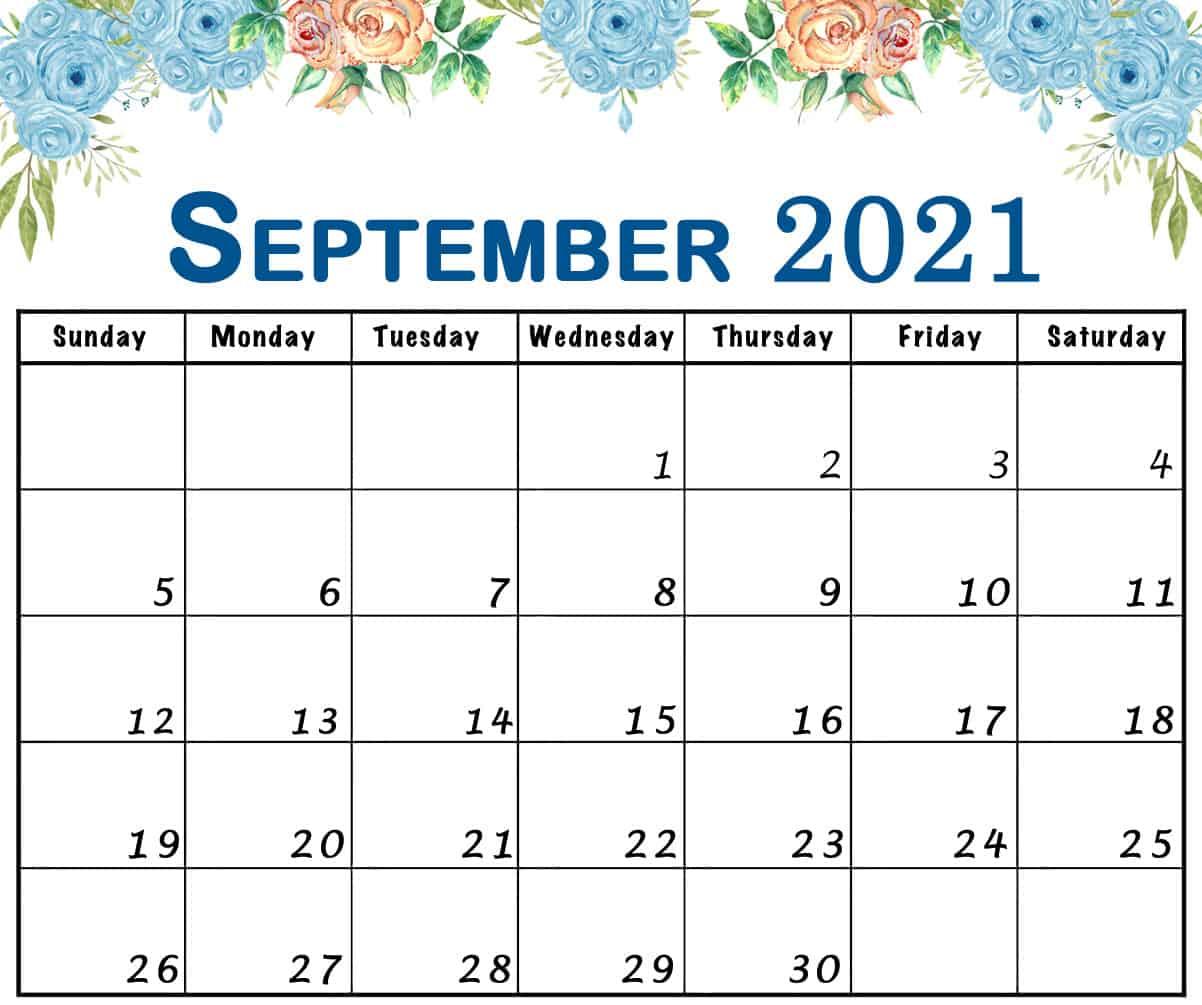Floral September 2021 Calendar Design