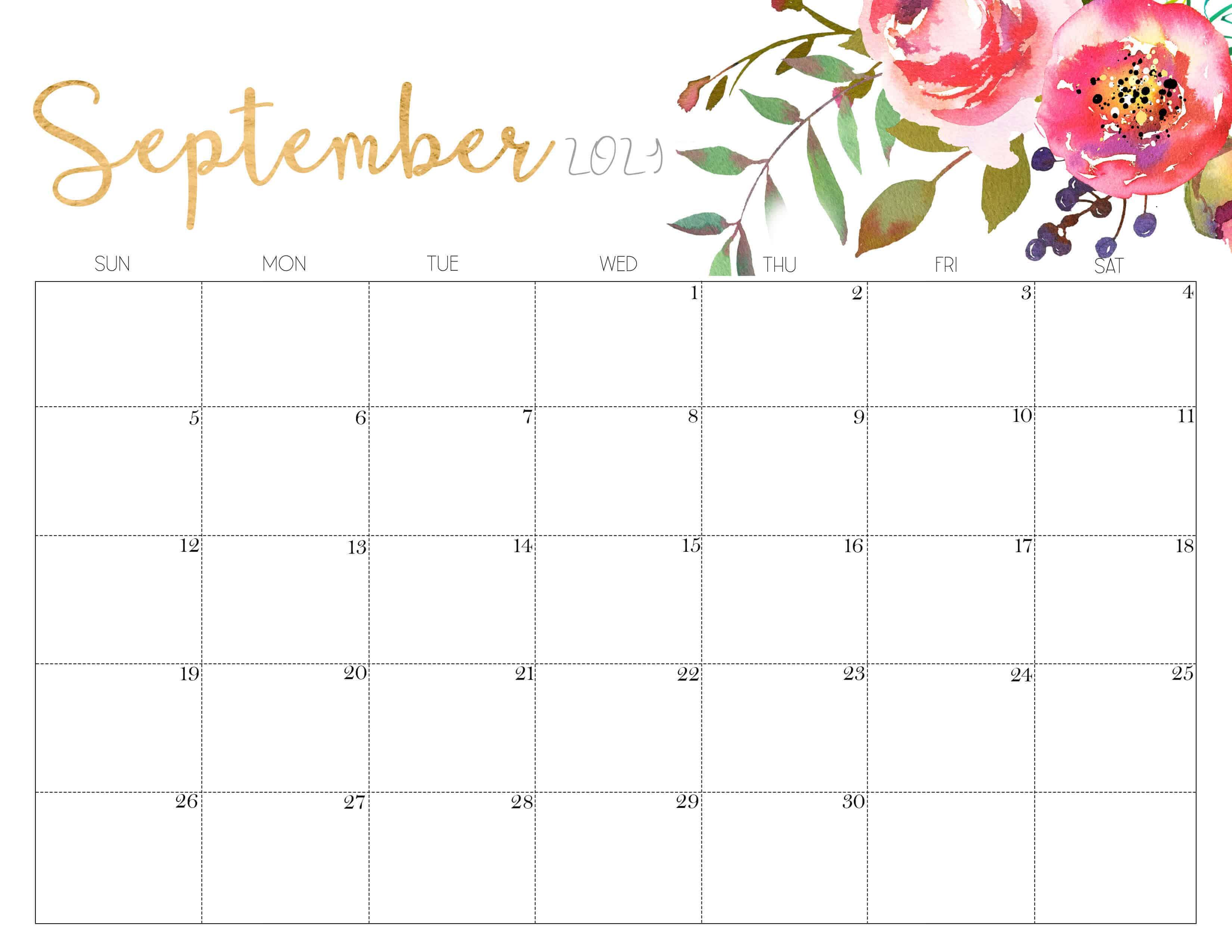 Floral September 2021 Calendar