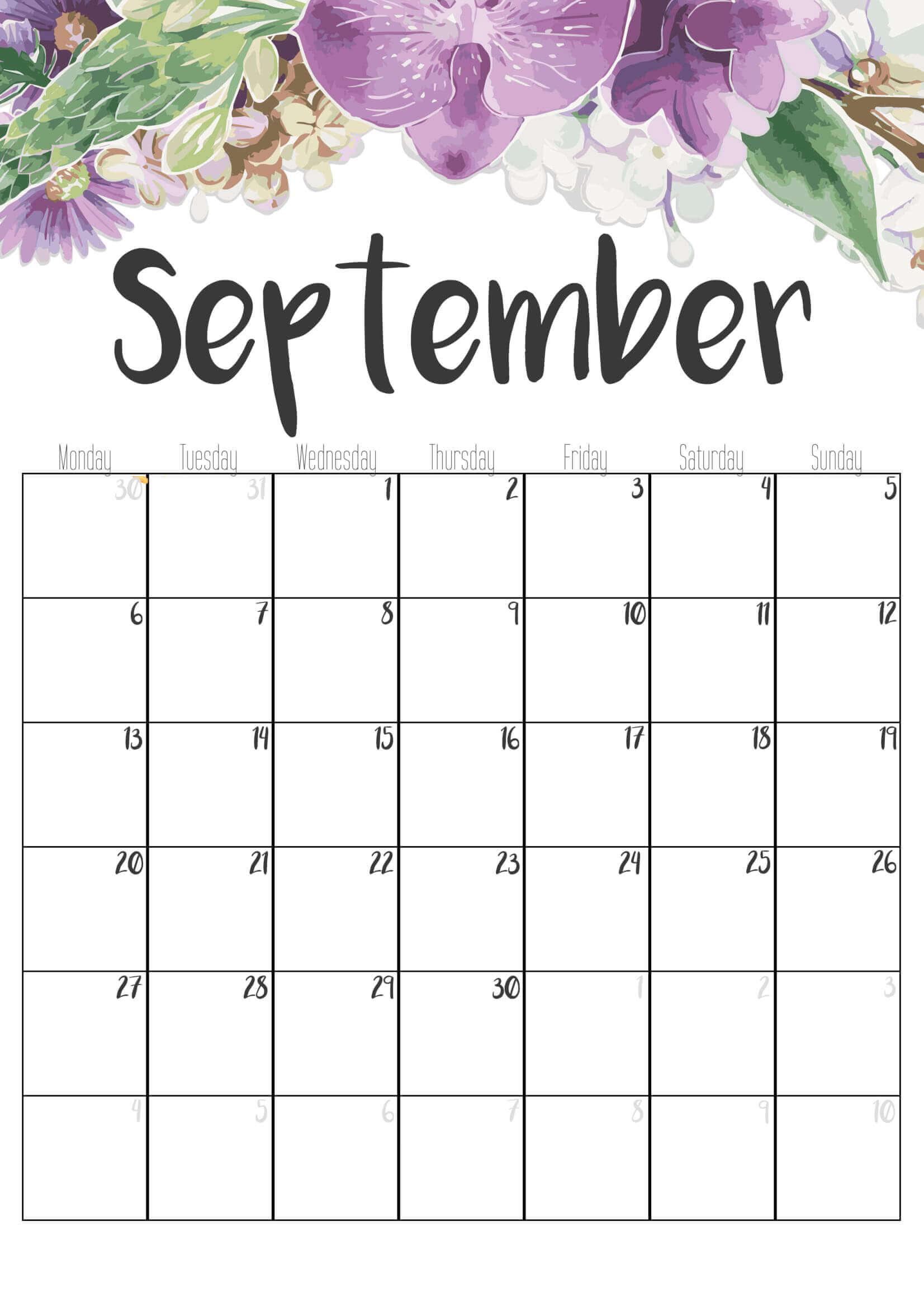 Floral September 2021 Office Wall Calendar