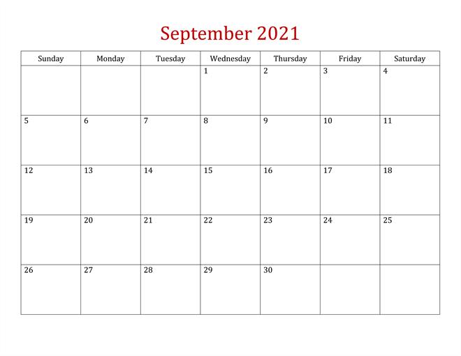 Free Printable Calendar for September 2021