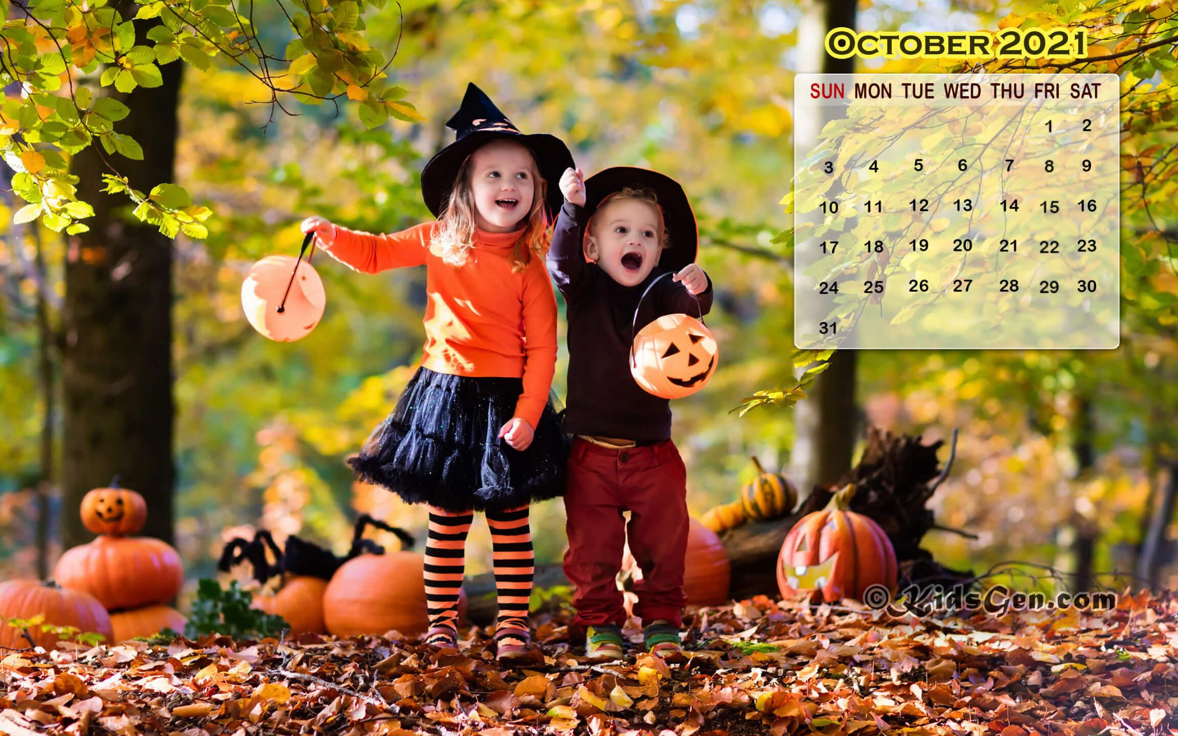 October 2021 Calendar Wallpaper for Desktop