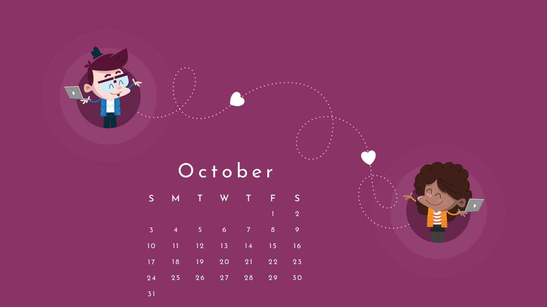 October 2021 Desktop Calendar Wallpaper
