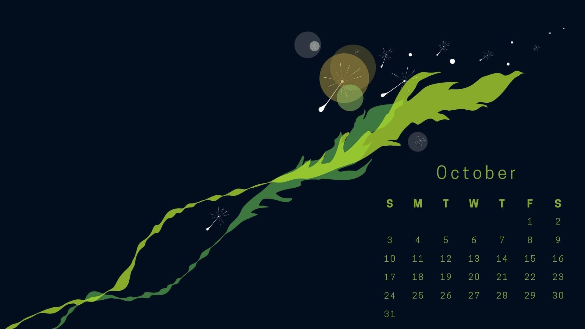 October 2021 HD Calendar Wallpaper