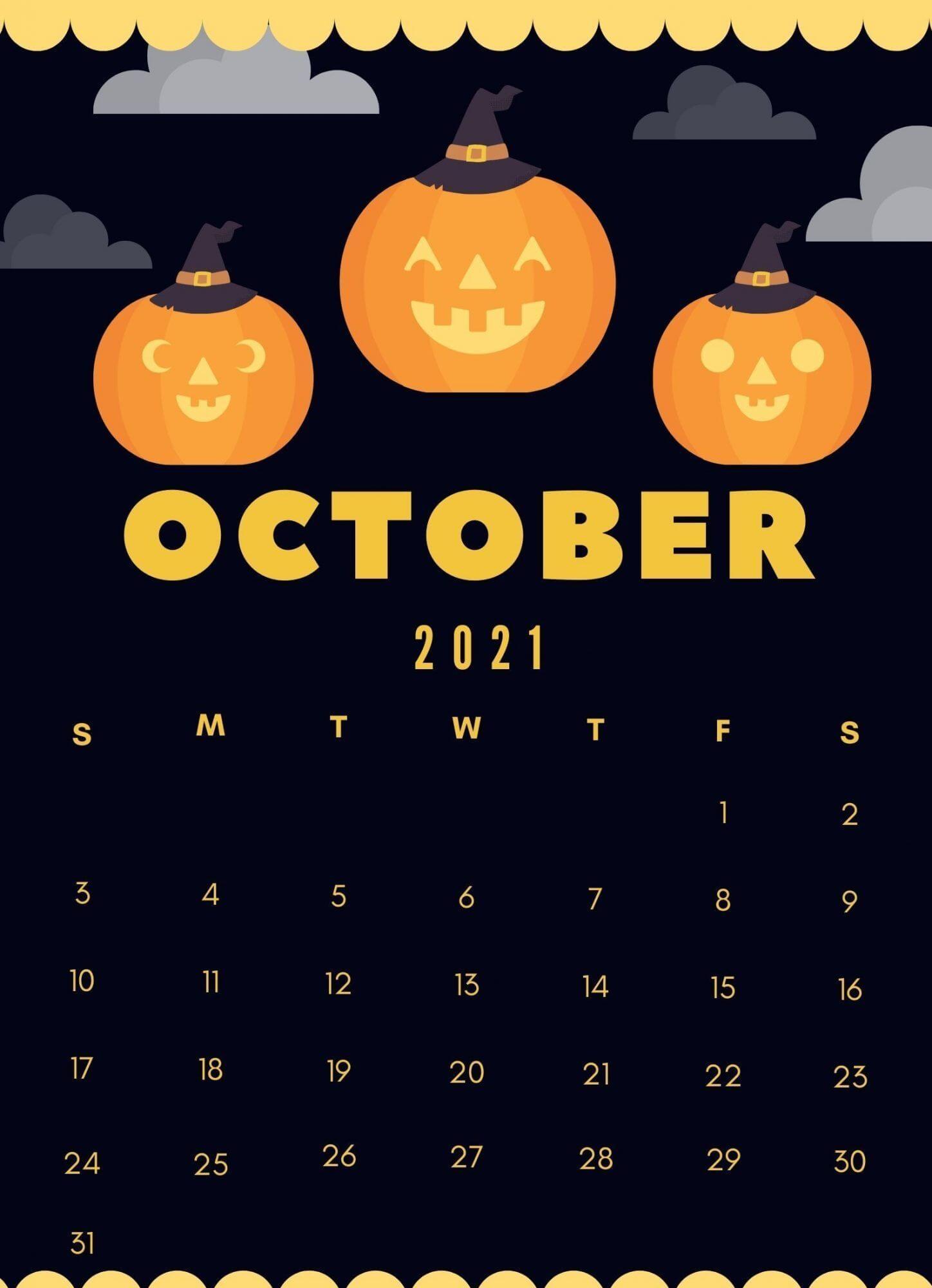 October 2021 iPhone Calendar Wallpaper