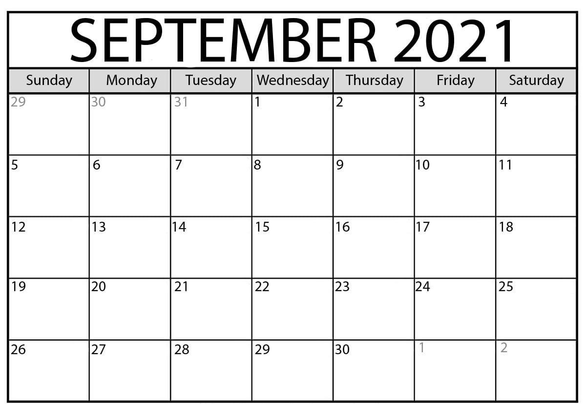 Print Calendar of September 2021 Template