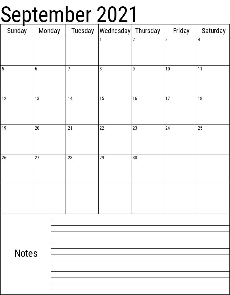 Print September 2021 Calendar Portrait