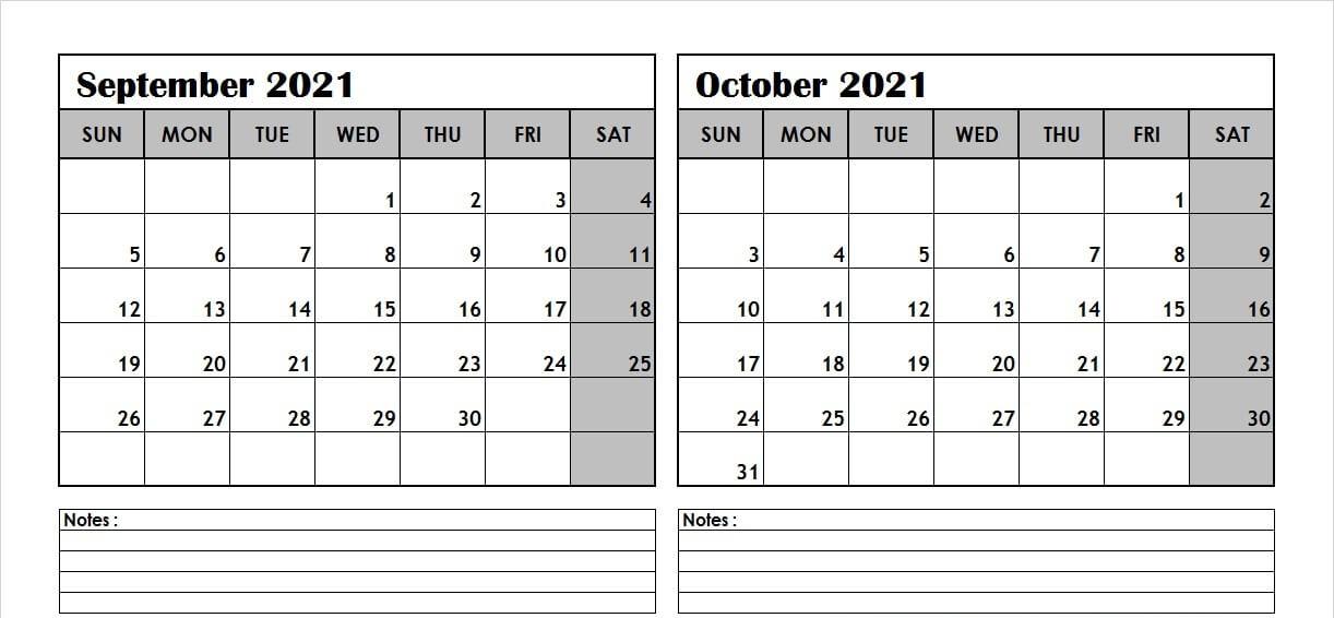 Print September October 2021 Calendar with Notes