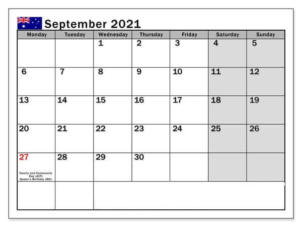 September 2021 Australia Holidays Calendar