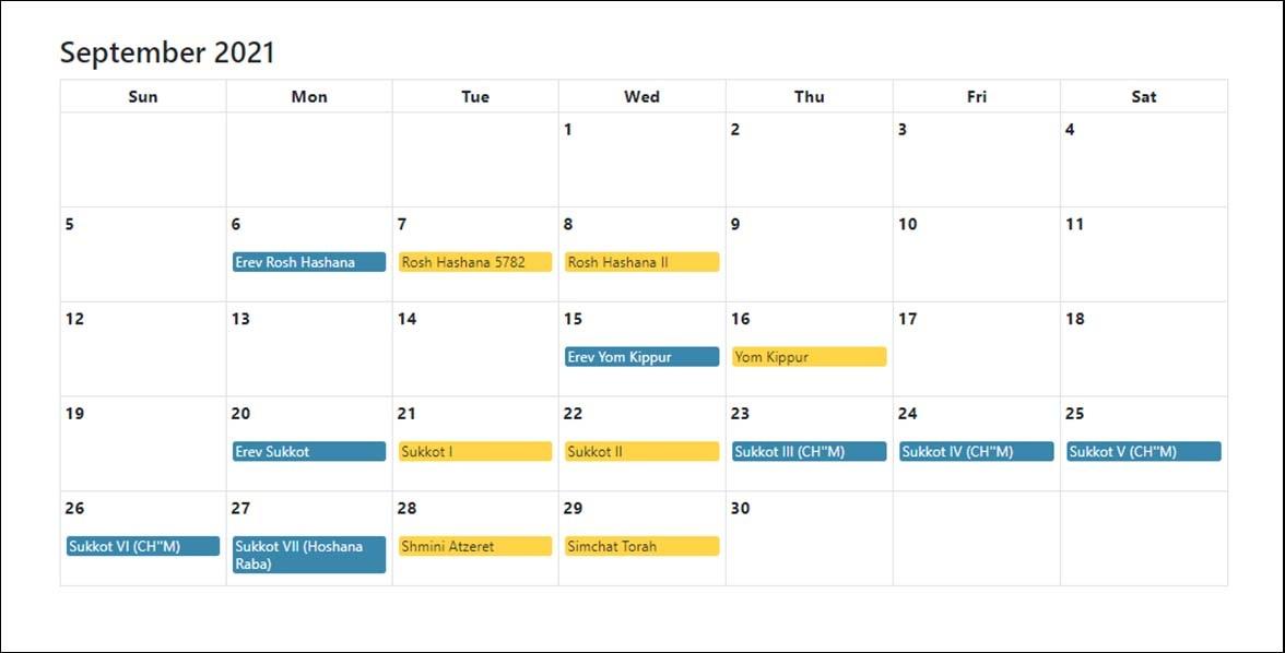 September 2021 Jewish Holidays Calendar
