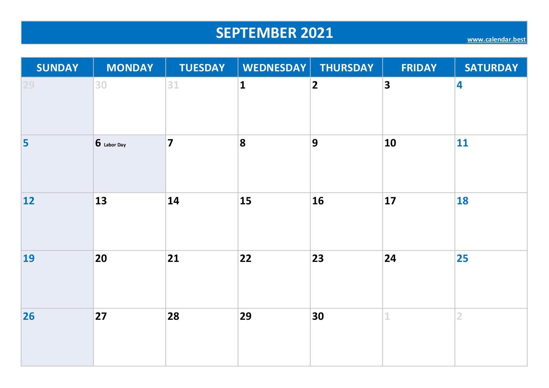 September 2021 Local Holidays Calendar