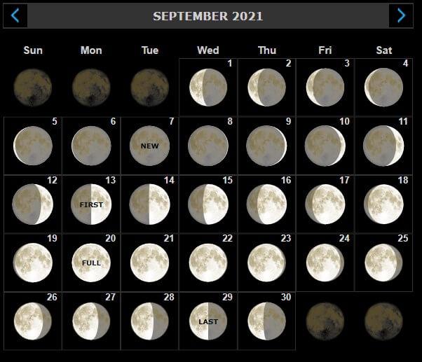 September 2021 Moon Calendar