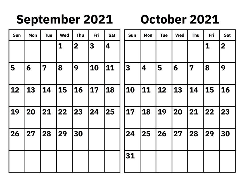 September October 2021 Calendar