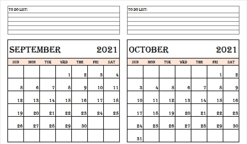 September October Calendar 2021