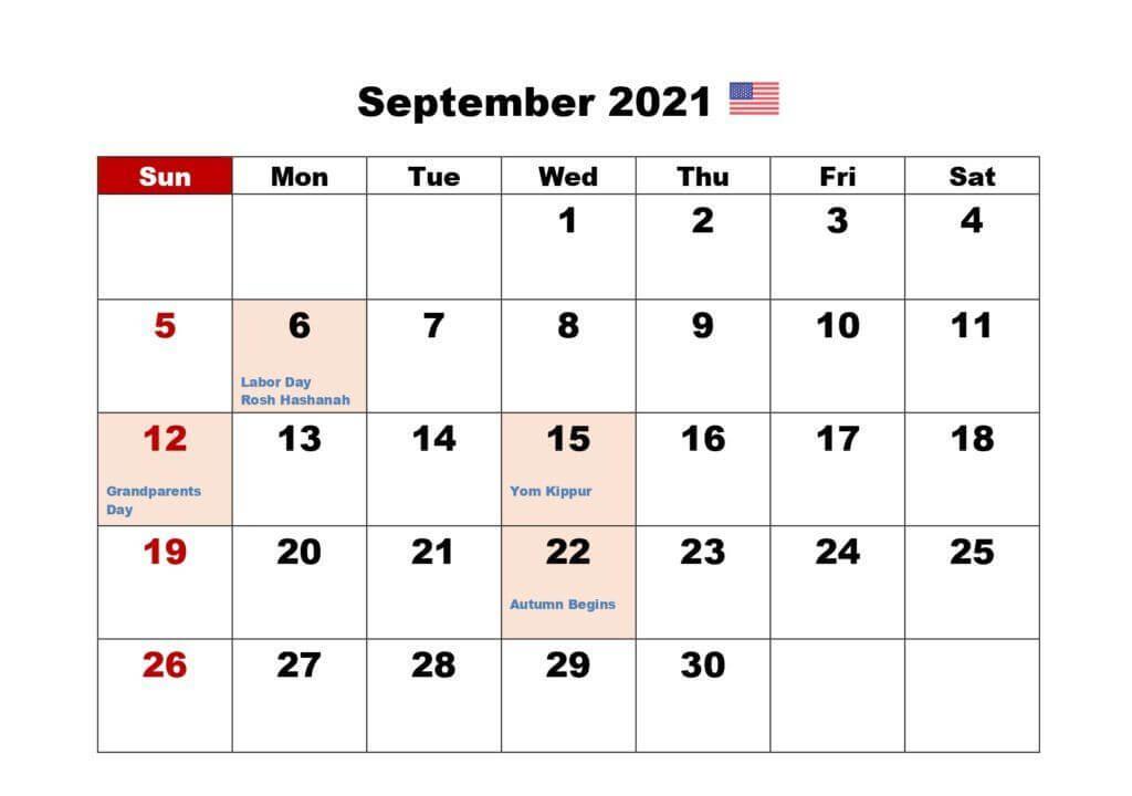 USA Holidays Calendar For September 2021
