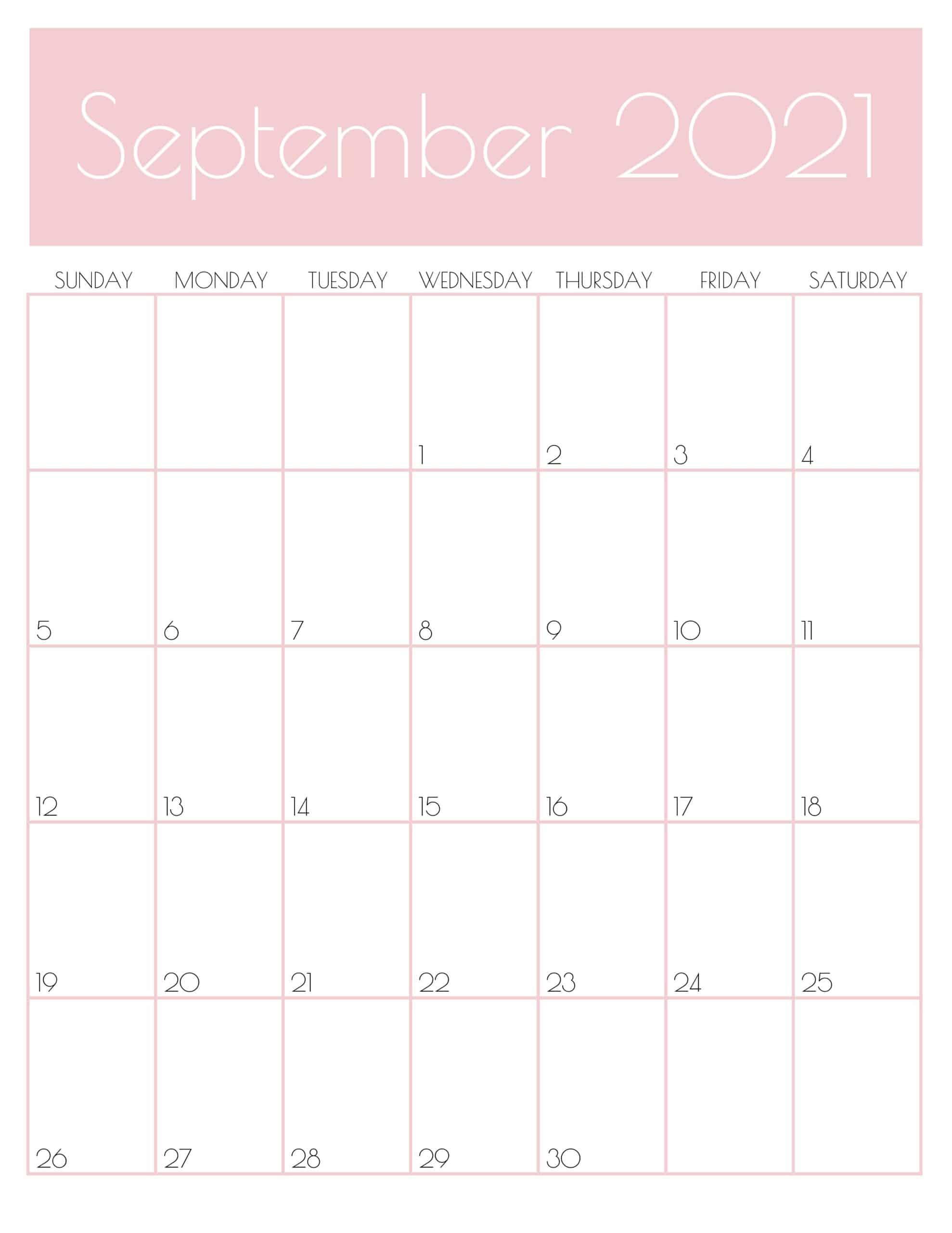 september 2021 calendar pink design